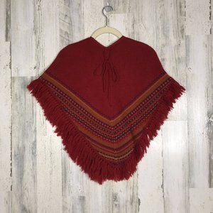 Vintage Wool Red Sarape Poncho/cape 7/8